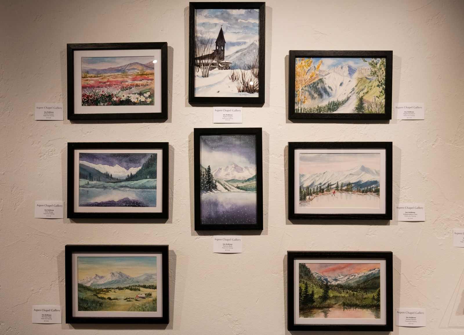 Watercolor paintings by Amy Beidleman are displayed in the Aspen Chapel Gallery for the Small Wonders holiday show and sale on Tuesday, Nov. 17, 2020. (Kelsey Brunner/The Aspen Times)