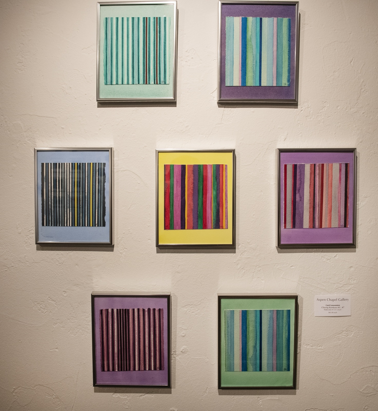 Watercolor pantings by Carol Loewenstern displayed in the Aspen Chapel Gallery for the Small Wonders holiday show and sale on Tuesday, Nov. 17, 2020. (Kelsey Brunner/The Aspen Times)