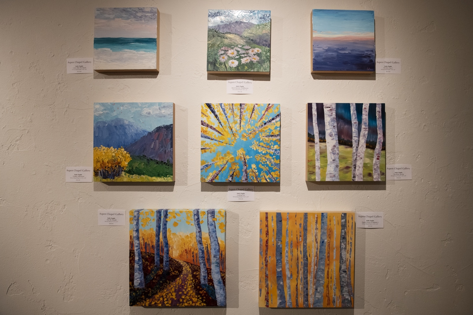 Oil paintings on wood panel by Emily Chaplin displayed in the Aspen Chapel Gallery for the Small Wonders holiday show and sale on Tuesday, Nov. 17, 2020. (Kelsey Brunner/The Aspen Times)