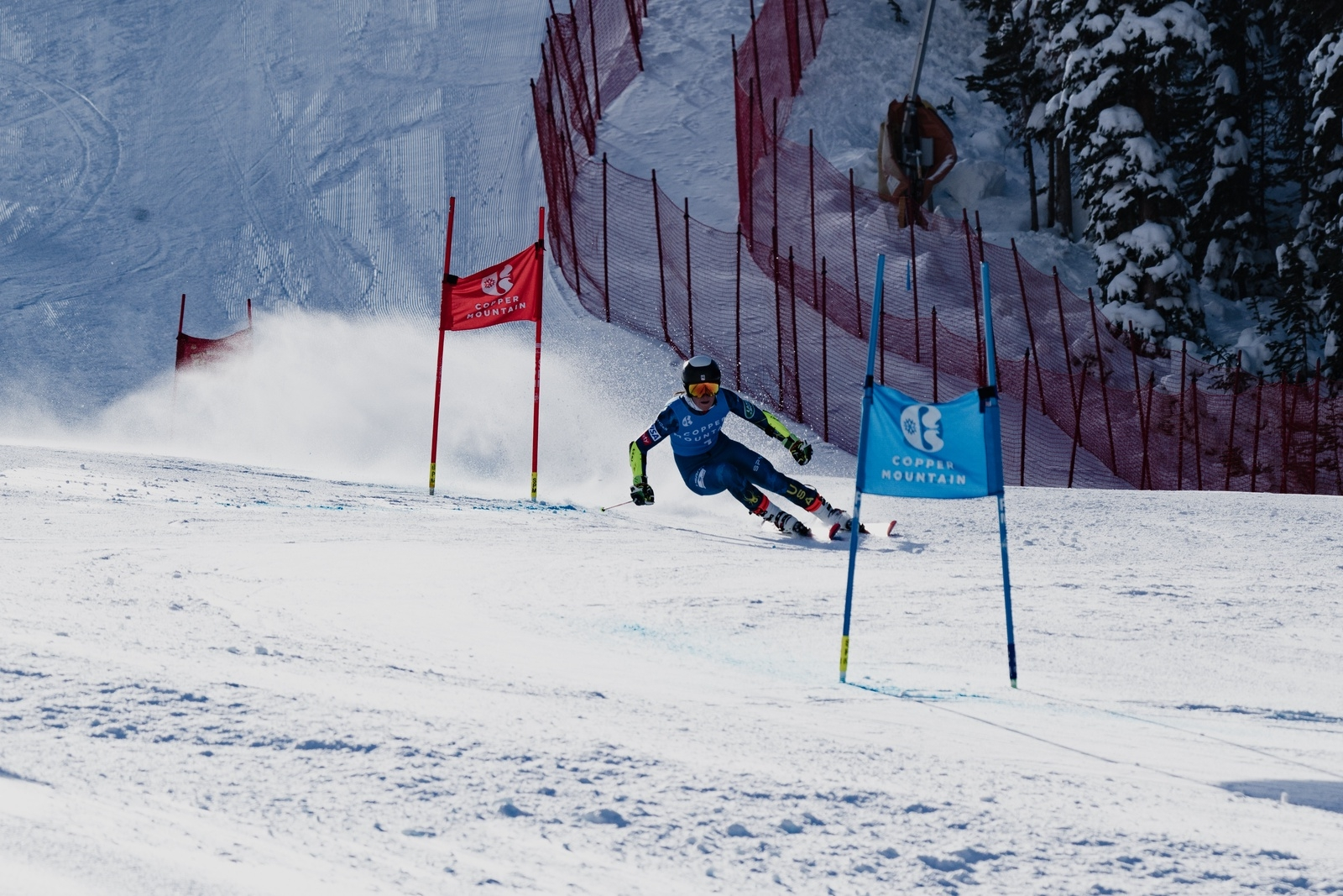 A skier competes at the U.S. Alpine Championships at Copper Mountain Resort earlier this week, a replacement event for a spring national championships that was canceled due to the novel coronavirus.   Photo by Max Hall / U.S. Ski & Snowboard