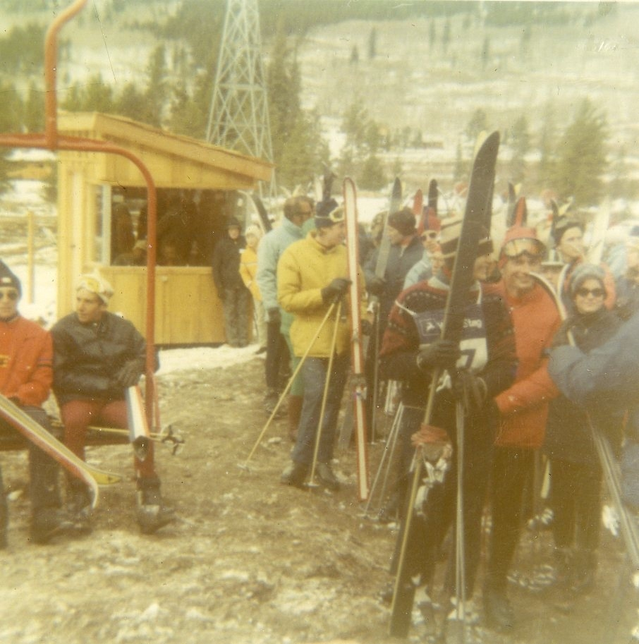 Skiers line up to hit the slopes at Keystone Mountain Ski Area for the first time at the mountain's grand opening Nov. 21, 1970 | Photo from the Bergman family