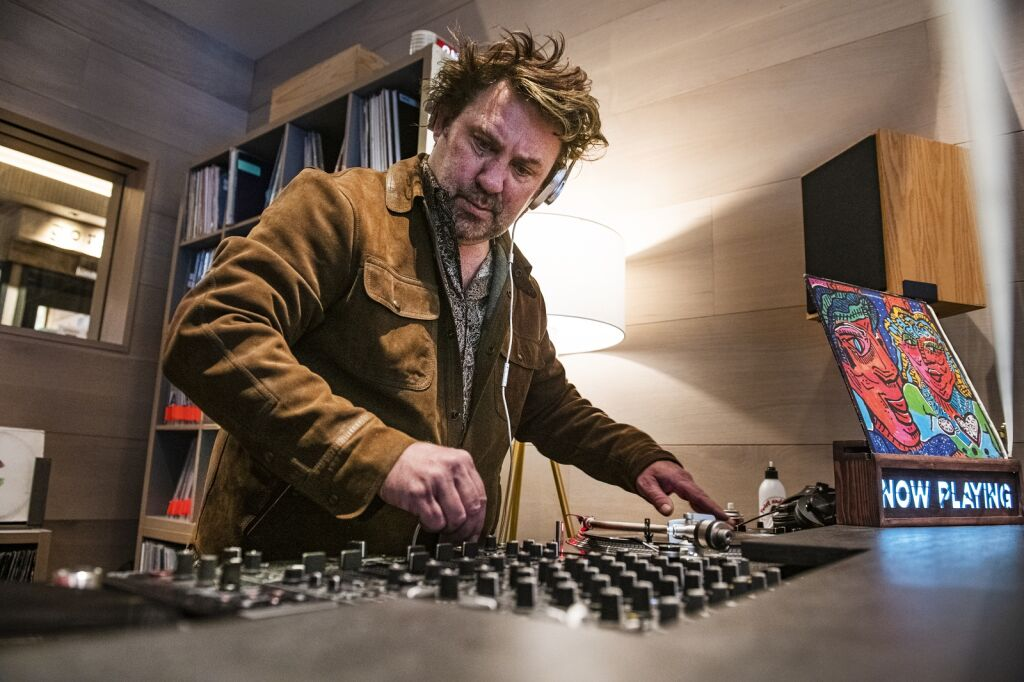 Local DJ Dylan Regan turned Little Nells Wine Bar into a lounge with a COVID-19 safe and over 5,000 records to spin.  (Kelsey Brunner / The Aspen Times)