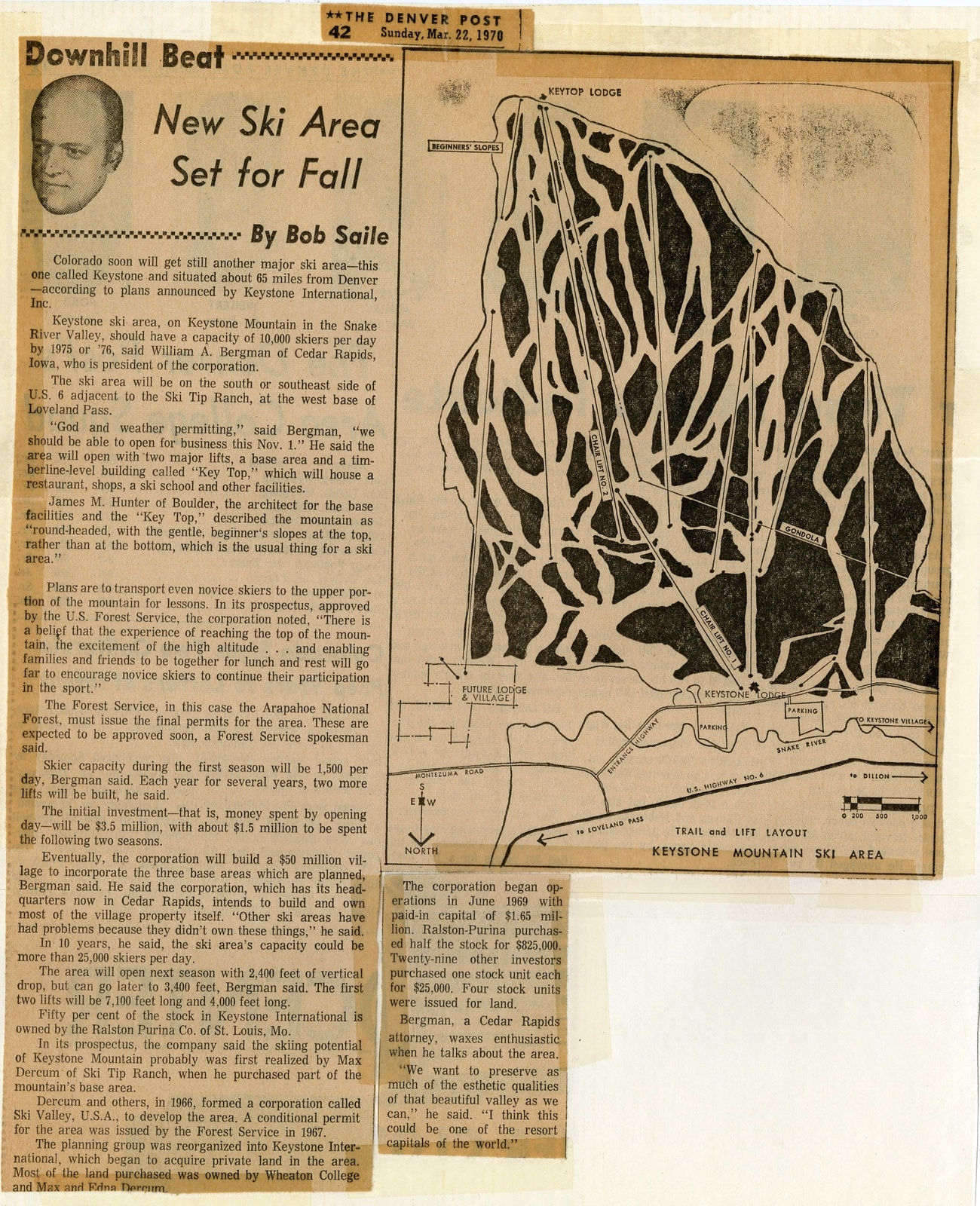 An article in The Denver Post shows a trail map for the new Keystone Mountain Ski Area set to open on Nov. 21, 1970 | Photo from the Bergman family