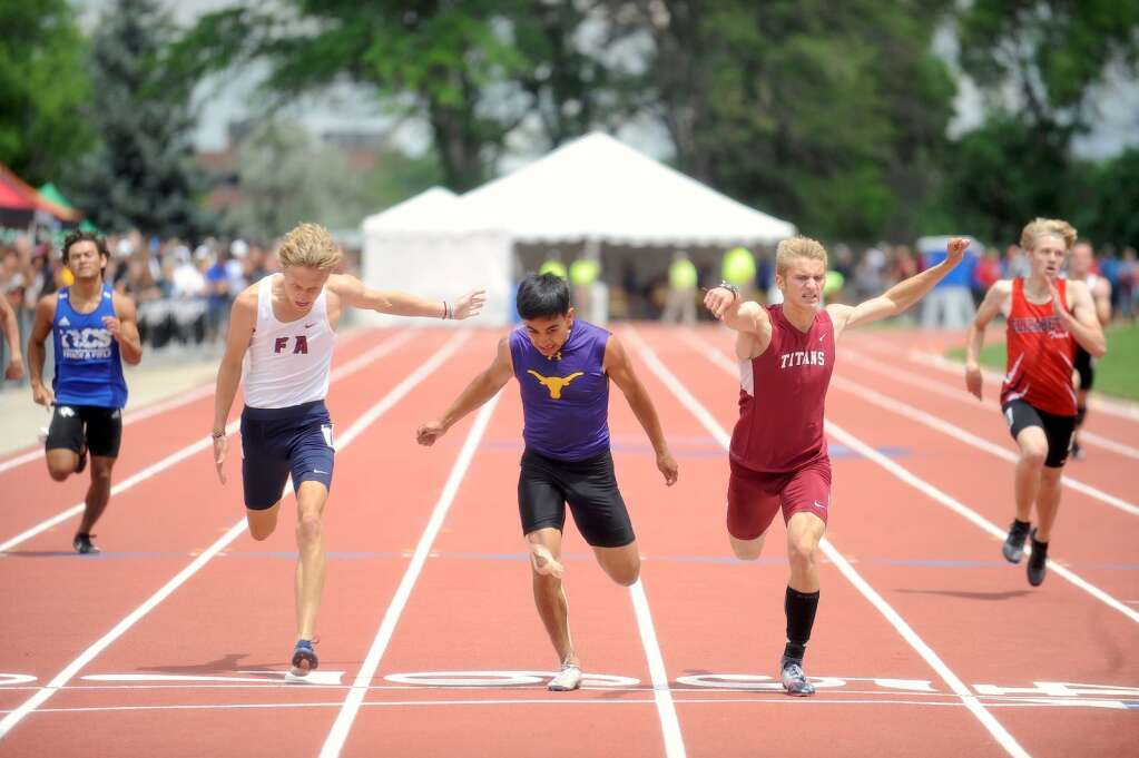 Basalt High School senior Rulbe Alvarado, middle, competes in the Class 3A boys' 400-meter sprint at the state track and field championships on Saturday, June 26, 2021, at Jefferson County Stadium in Lakewood. Photo by Shelby Reardon/Steamboat Pilot & Today.