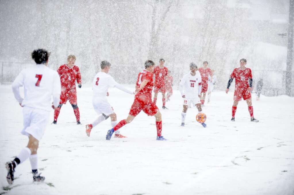 Snow made seeing the ball and teammates difficult for the Steamboat Springs soccer team during a snowy game against Glenwood Springs on Thursday evening. (Photo by Shelby Reardon)