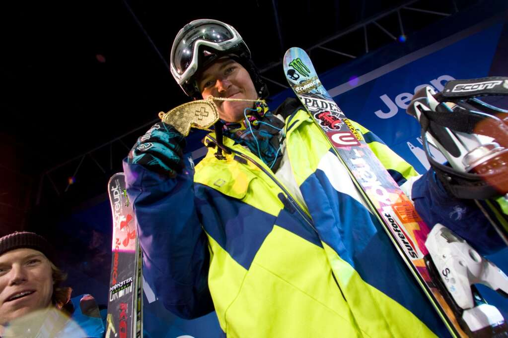 Peter Olenick shows off his gold from the men's skier High Air finals at Winter X Games 14 in Aspen. Photo courtesy of ESPN.