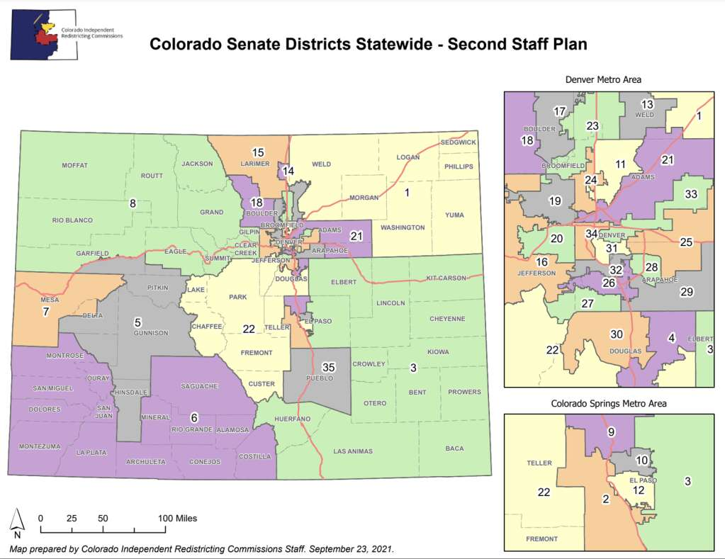 The second proposed Colorado Senate district map keeps Summit County in Senate District 8. | Colorado Independent Congressional Redistricting Commission/Courtesy map