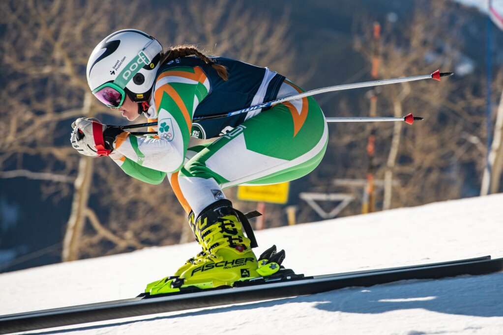 A skier competes in the first run of the Women's Downhill National Championships at Aspen Highlands on Saturday, April 10, 2021. (Kelsey Brunner/The Aspen Times)