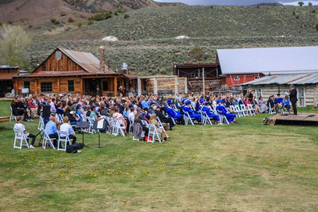 People and grads gather for VSSA's commencement ceremony Friday at 4 Eagle Ranch in Wolcott.   Chris Dillmann/cdillmann@vaildaily.com