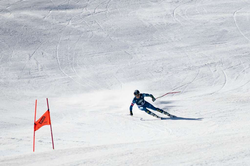 American alpine skier Jared Goldberg competes in the first run of the Men's Downhill National Championship at Aspen Highlands on Saturday, April 10, 2021. Goldberg tied for first place. (Kelsey Brunner/The Aspen Times)