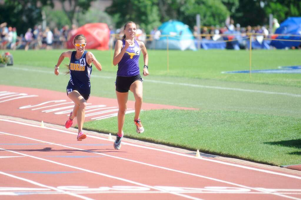 Basalt High School sophomore Katelyn Maley, right, competes in the Class 3A girls' 3,200-meter run on Friday, June 25, 2021, at the state championship meet in Lakewood. Maley finished second. Photo by Shelby Reardon/Steamboat Pilot & Today.