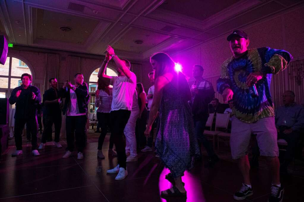 A crowd dances to the New Orleans Roadshow Revue show in the ballroom of Hotel Jerome the JAS June Experience in downtown Aspen on Friday, June 25, 2021. (Kelsey Brunner/The Aspen Times)