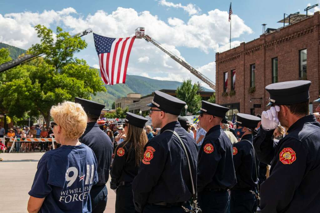 A crowd gathered at the Aspen Volunteer Fire Department in East Hopkins on Saturday, September 11, 2021 for the 20th Annual 9/11 Memorial Day.  (Kelsey Brunner / The Aspen Times)