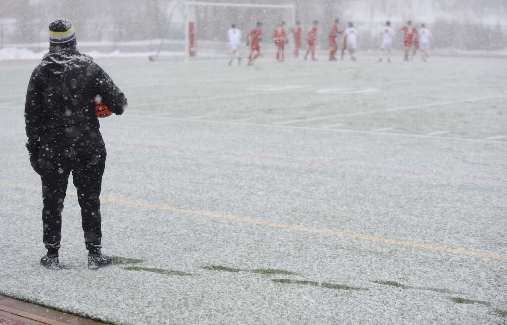 Snow coated the field during a game between Steamboat Springs and Glenwood Springs on Thursday evening. (Photo by Shelby Reardon)
