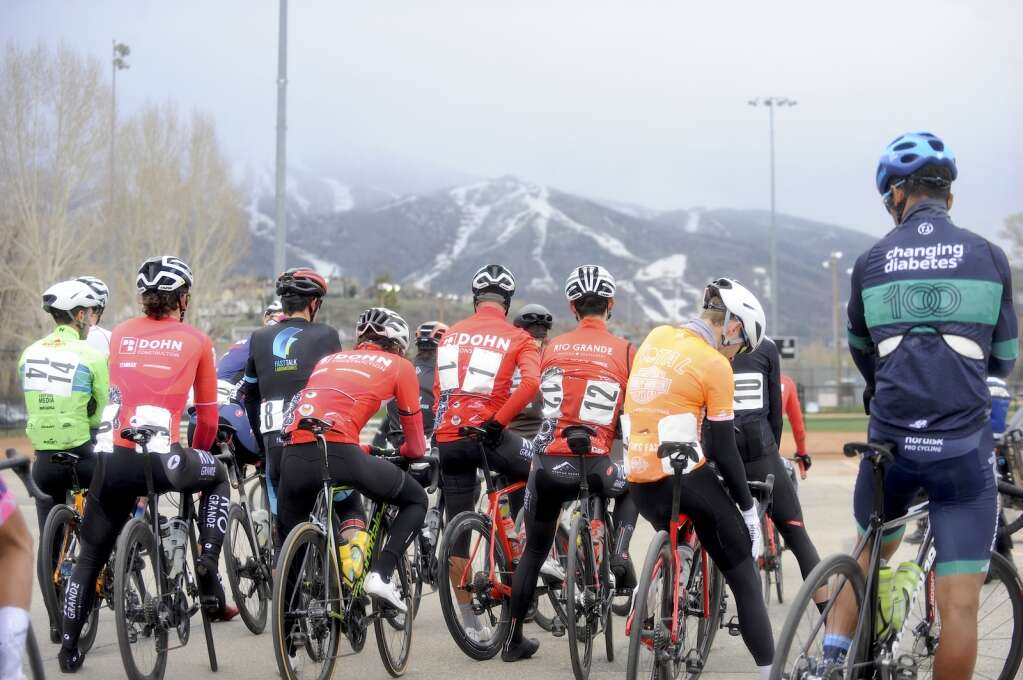 The men's pro race gets ready to take off from Howelsen Hill during the 2021 Steamboat Roubaix on Saturday, May 8. (Photo by Shelby Reardon)