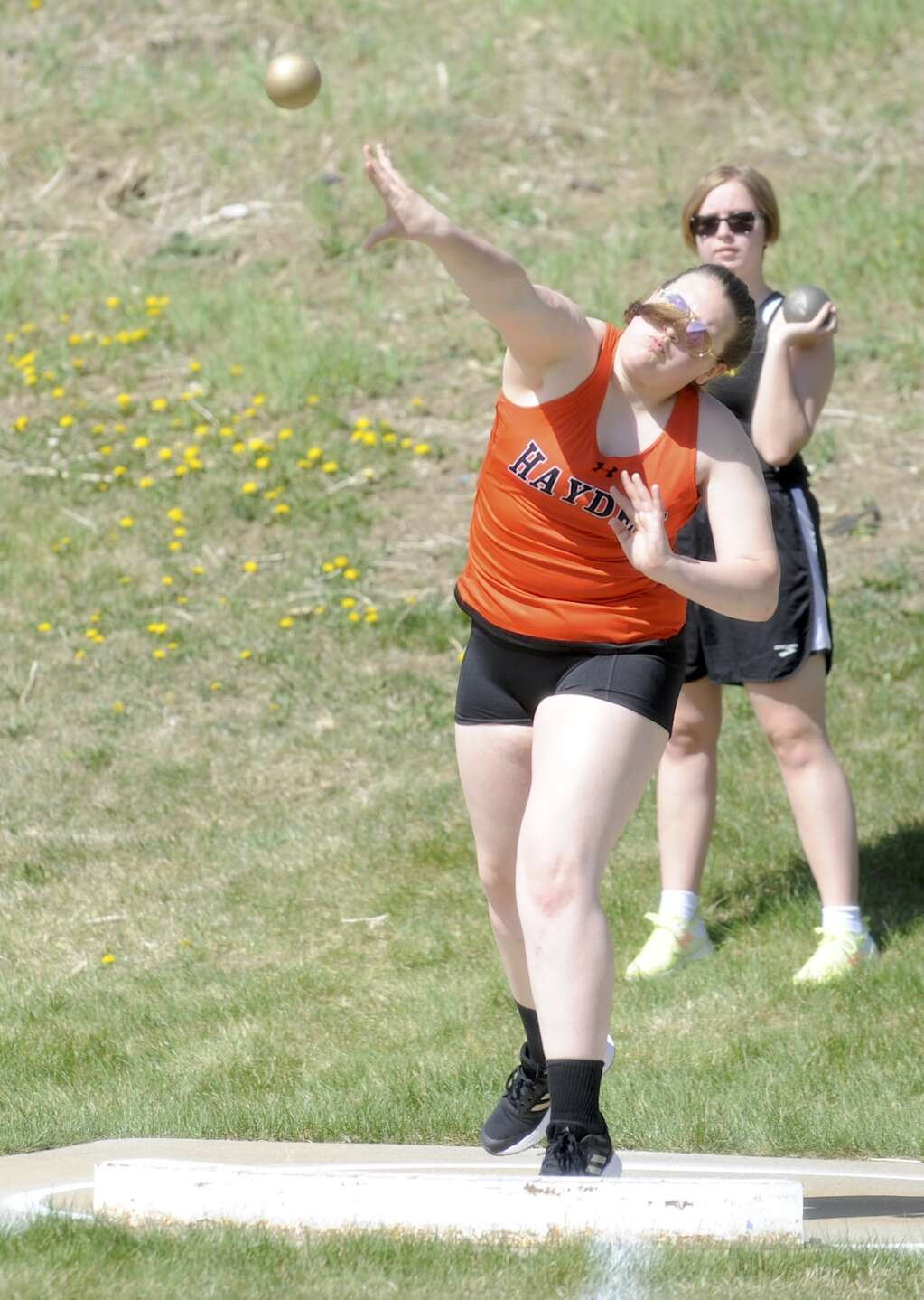 Hayden's Dakota Munden competes in shot put at the Clint Wells Invitational in Craig on Friday. (Photo by Shelby Reardon)