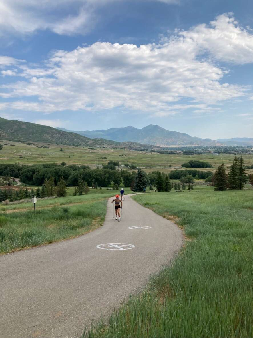 Nina Schamberger and Sam Thebeau race up the famous Hermods Hill, a staple of the 2002 Winter Olympic Nordic ski courst, during the Summit Nordic Ski Club time trial on the Soldier Hollow roller-ski track in Park City, Utah last week. | Photo from Summit Nordic Ski Club