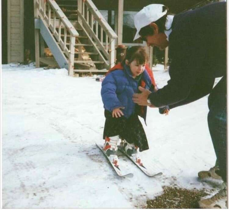 David Jefferson teaches his daughter Bailey how to ski in 1992. The Jeffersons would go on to take backcountry hut trips to Francie's Cabin for 25 years straight. | Photo from Lauren Jefferson