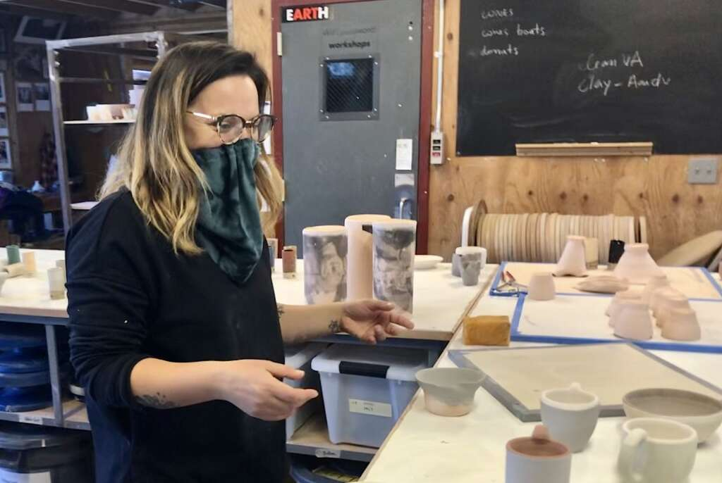 Oolite artist-in-residence Jayme Gershen experiments with ceramics in a studio at Anderson Ranch Arts Center. Gershen, a filmmaker, is exploring different mediums after finishing a feature film during her residency. | Kaya Williams/The Aspen Times