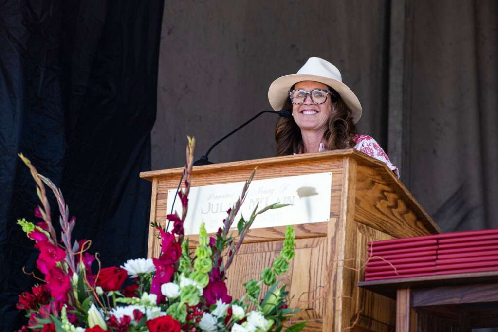 Aspen High School's principal Sarah Strassburger gives a speech during the commencement ceremony on Saturday, June 5, 2021. (Kelsey Brunner/The Aspen Times)