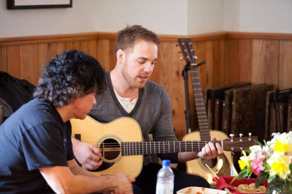 John Oates backstage at the Wheeler in 2012 with Marc Broussard during the 7908 Aspen Songwriters Festival. (Courtesy photo)