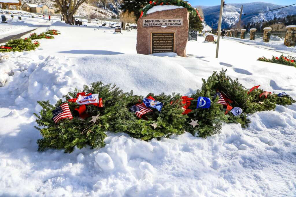 Wreaths acknowledging each branch of military lay waiting to be placed for Wreaths Across America Saturday in Minturn. | Chris Dillmann/cdillmann@vaildaily.com