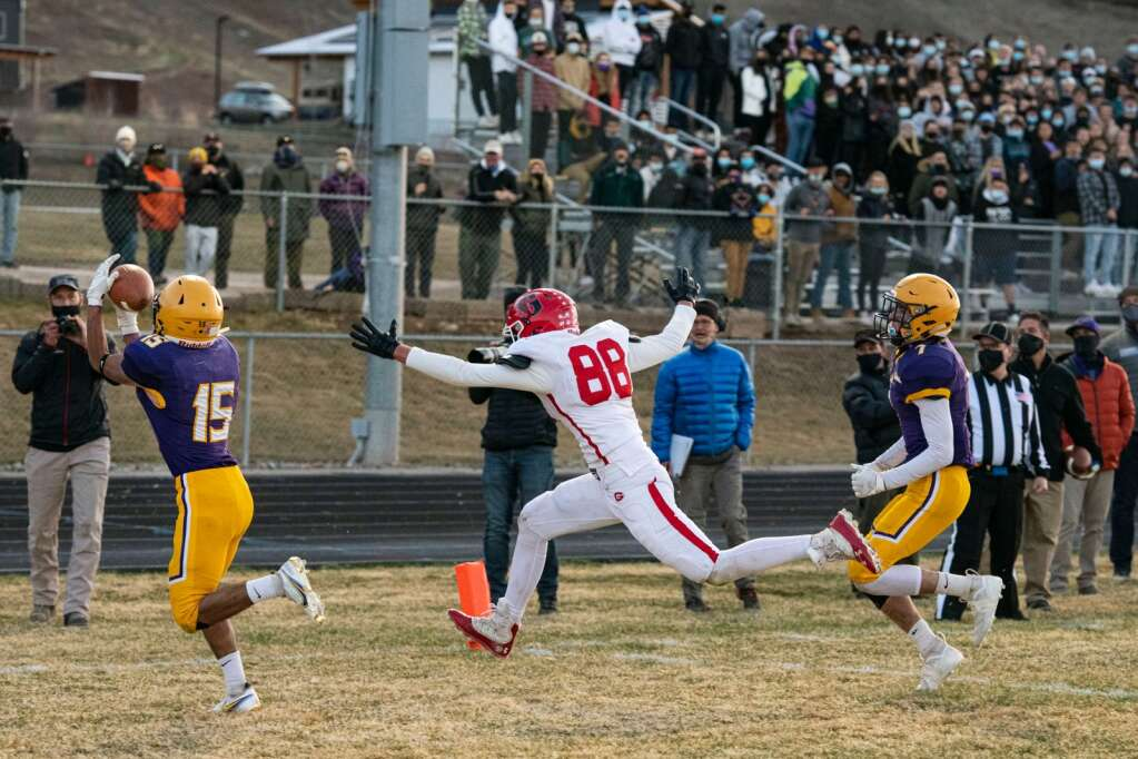 Basalt High School's wide receiver and captain Rulbe Alvarado intercepts a touchdown attempt by Glenwood Springs during the first half of the game on Friday, April 9, 2021. (Kelsey Brunner/The Aspen Times)