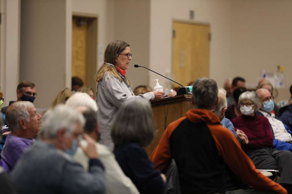 Emily Tracy speaks during a community hearing with the Colorado Independent Redistricting Commissions on Saturday, July 31, 2021 in Frisco. The hearing provided Coloradans a chance to voice their input for preliminary map drawings. | Photo by Ashley Low / Ashley Low Photography