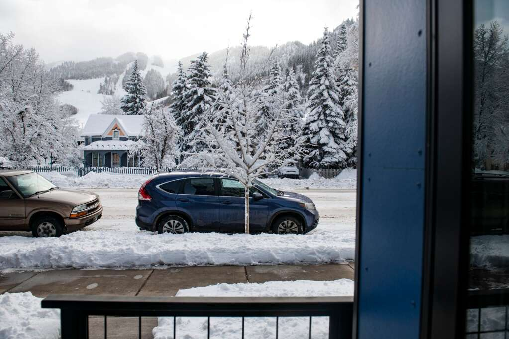 A view of Aspen Mountain is offered on a private deck off of a first floor unit at 210 W. Main St. in Aspen on Friday, Feb. 5, 2021. (Kelsey Brunner/The Aspen Times)