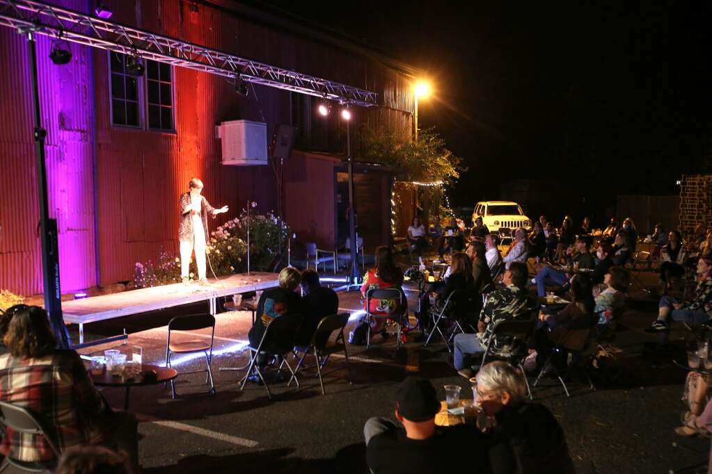 Nevada City comedian Jori Phillips headlines a mid October local standup comic show at the Miner's Foundry's outdoor Deer Creek Stage set up in the back parking lot. | Photo: Elias Funez