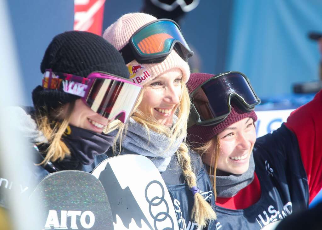Podium finishers, from left, Finland's Enni Rukajarvi, Austria's Anna Gasser and California's Hailey Langland pose after the women's snowboard slopestyle contest of the U.S. Grand Prix and World Cup on Saturday, March 20, 2021, at Buttermilk Ski Area in Aspen. Photo by Austin Colbert/The Aspen Times.
