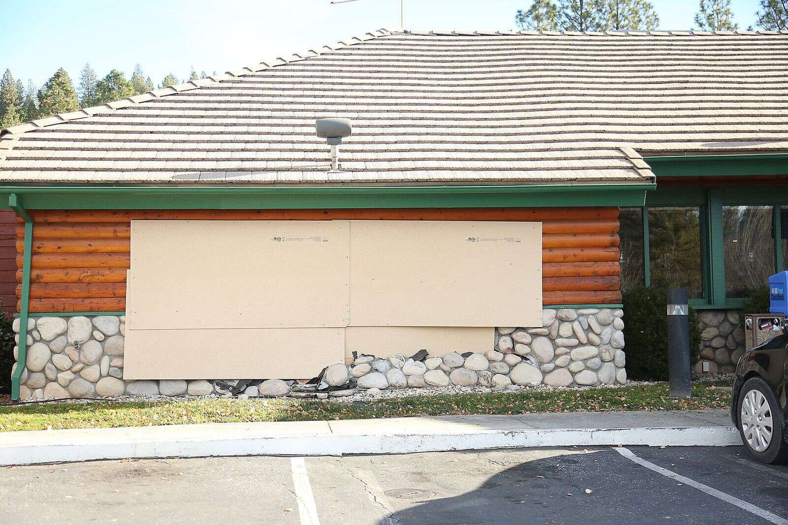 The side of the Lumberjack's Restaurant in Grass Valley's Glenbrook Basin where an unknown vehicle crashed into the building, has since been shored up while awaiting full repairs.