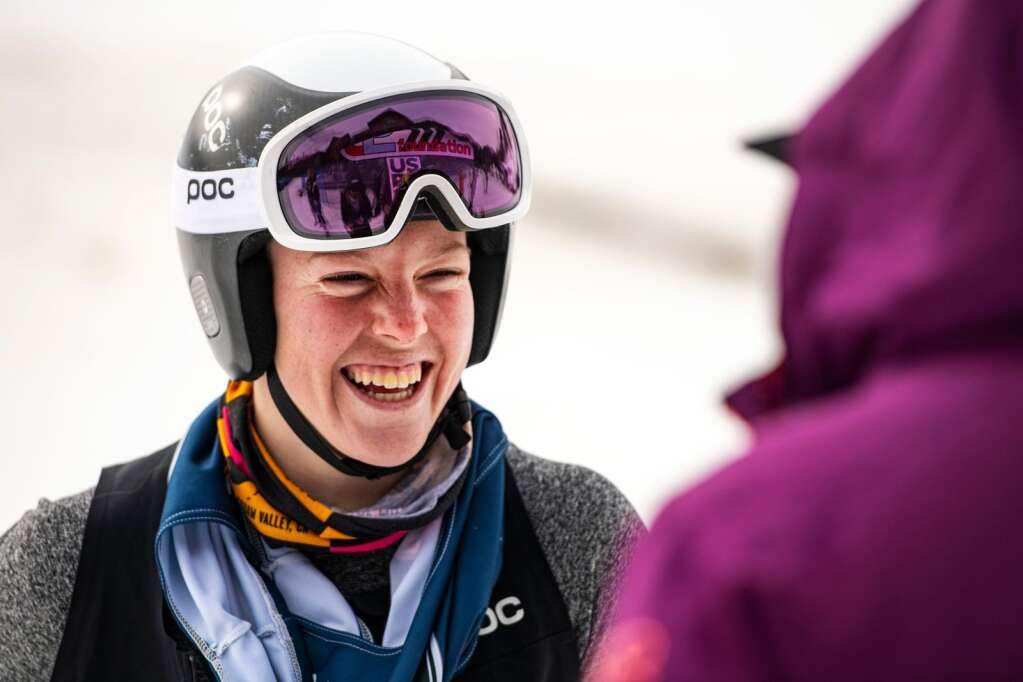 American alpine skier AJ Hurt stands at the base of Aspen Highlands after placing first in the Women's FIS Super G event on Tuesday, April 13, 2021. (Kelsey Brunner/The Aspen Times)