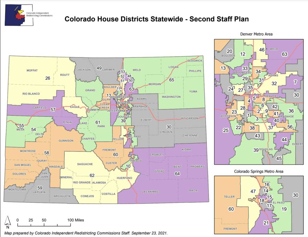 The second proposed Colorado House district map keeps Summit County in House District 61. | Colorado Independent Congressional Redistricting Commission/Courtesy map