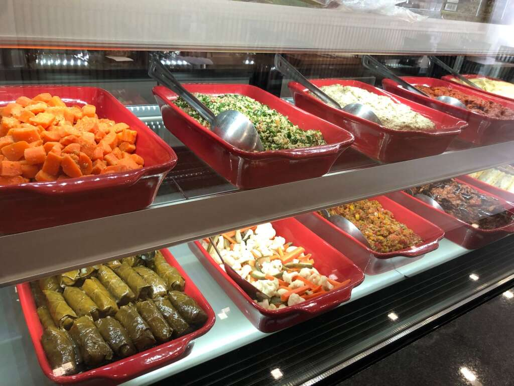 Colorful salads on display