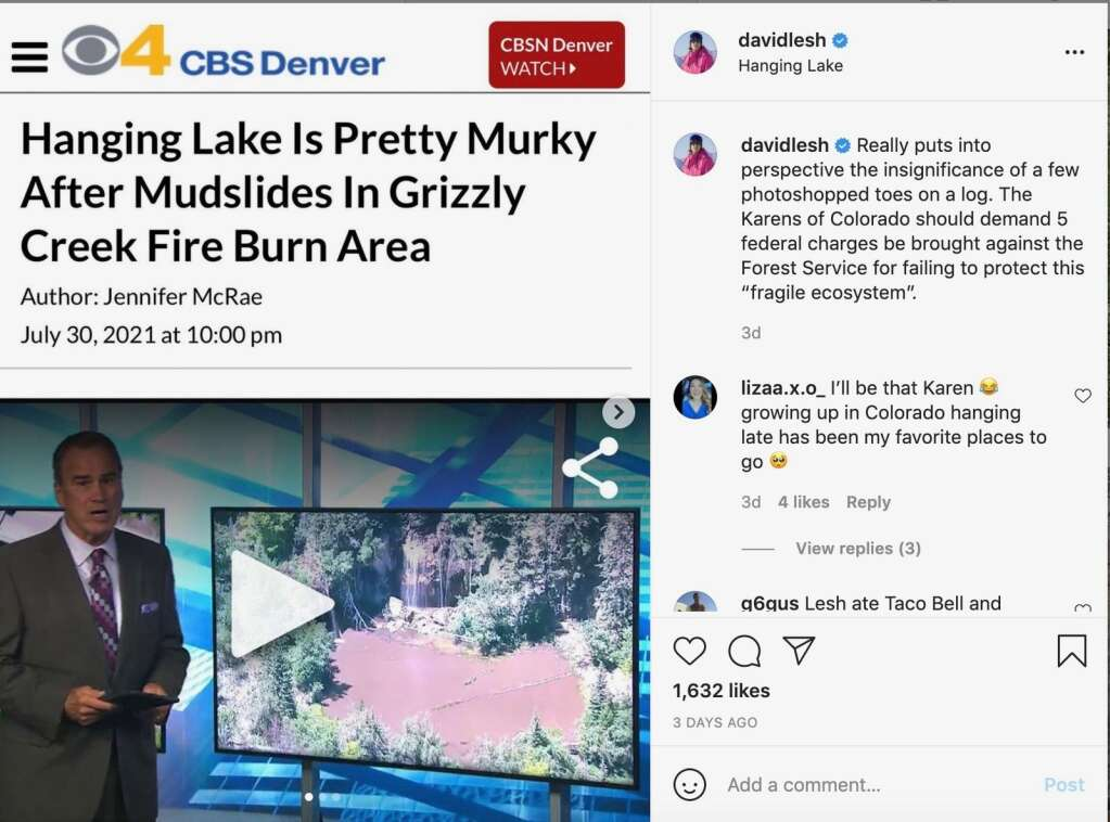 """David Lesh's post to Instagram on Aug. 3 poked federal officials for """"failing to protect"""" Hanging Lake from a mudslide during a rainstorm July 29."""