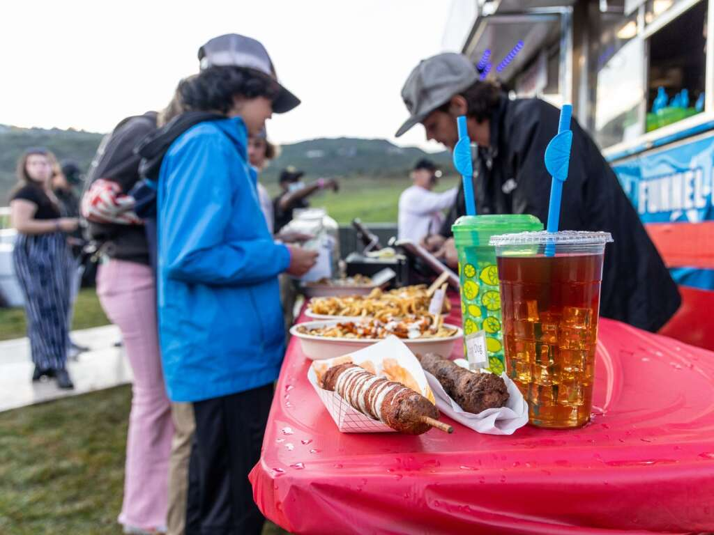 People wait in line for food during Jazz Aspen Snowmass on Friday, Sept. 3, 2021, in Snowmass Village. Photo by Austin Colbert/The Aspen Times.