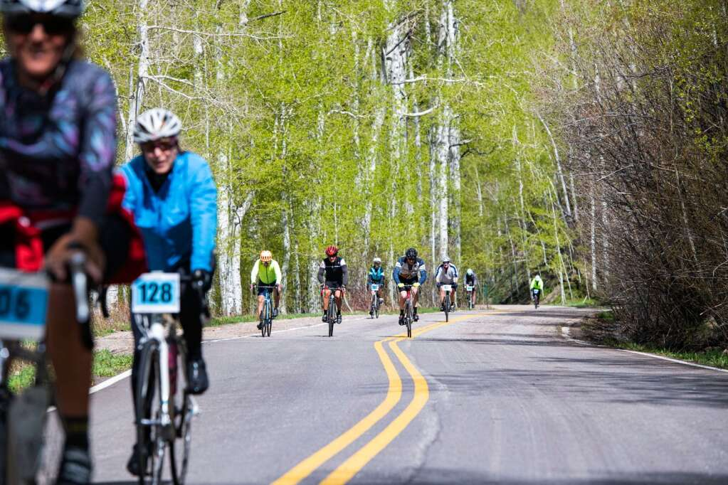 Competitors bike up Independence Pass near the one-mile mark during the 2021 annual Ride for the Pass event starting in Aspen on Saturday, May 22, 2021. (Kelsey Brunner/The Aspen Times)