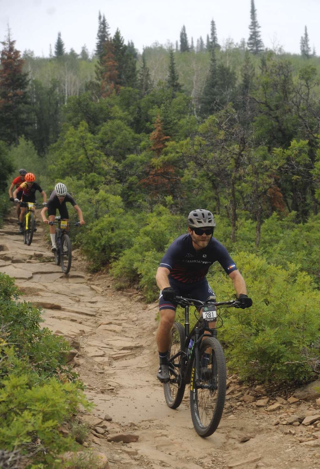 Cyclists move surprisingly fast on the Little Moab descent on the Emerald Mountain Epic course on Saturday morning. Apparently, faster is better. (Photo by Shelby Reardon)