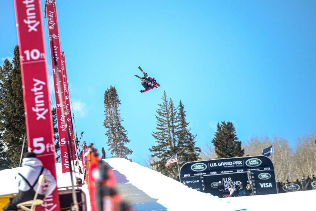 China's Eileen Gu competes in the women's halfpipe skiing qualifiers of the Land Rover U.S. Grand Prix and World Cup on Friday, March 19, 2021, at Buttermilk Ski Area in Aspen, Colorado. Photo by Austin Colbert/The Aspen Times.