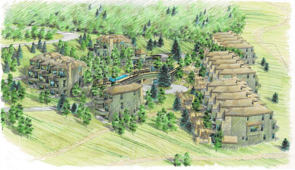 A rendering of the sketch plan for the Deerbrook Townhomes project by Shannon Murphy Landscape Architects includes three new buildings (left) and additional amenities for residents. (Town of Snowmass Village/Courtesy Image)