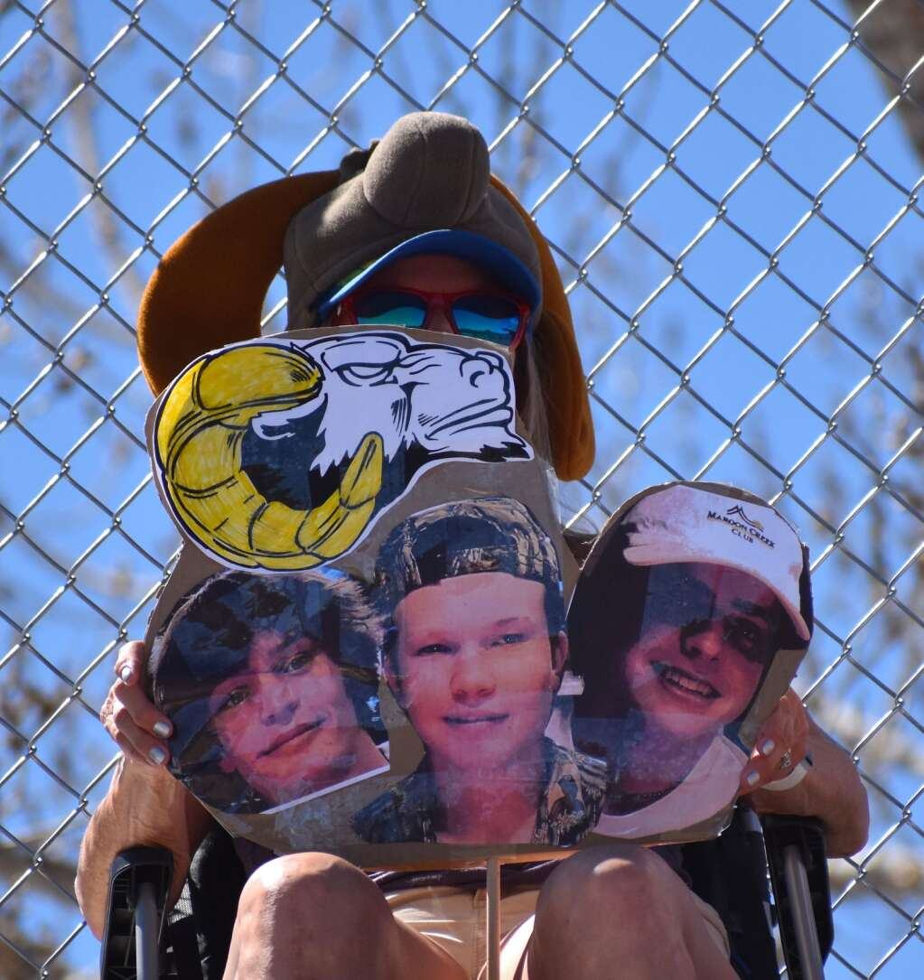 This Roaring Fork fan was decked out with a Rams hat and a tribute to some of the student-athletes.