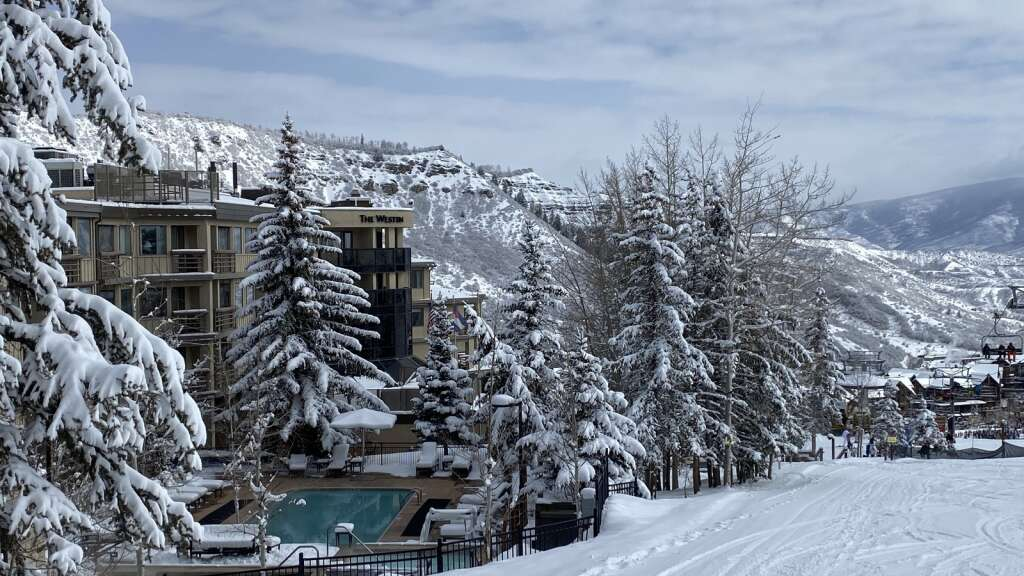 Slopeside view of the Westin hotel in Snowmass on March 30, 2021 after an overnight spring storm. | David Krause / Snowmass Sun