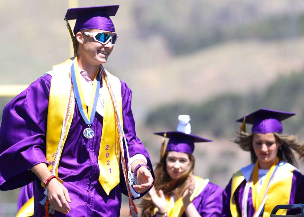 Noah Allen prepares to receive his diploma during the Basalt High School graduation ceremony on Saturday, May 22, 2021, on the BHS football field. Photo by Austin Colbert/The Aspen Times.