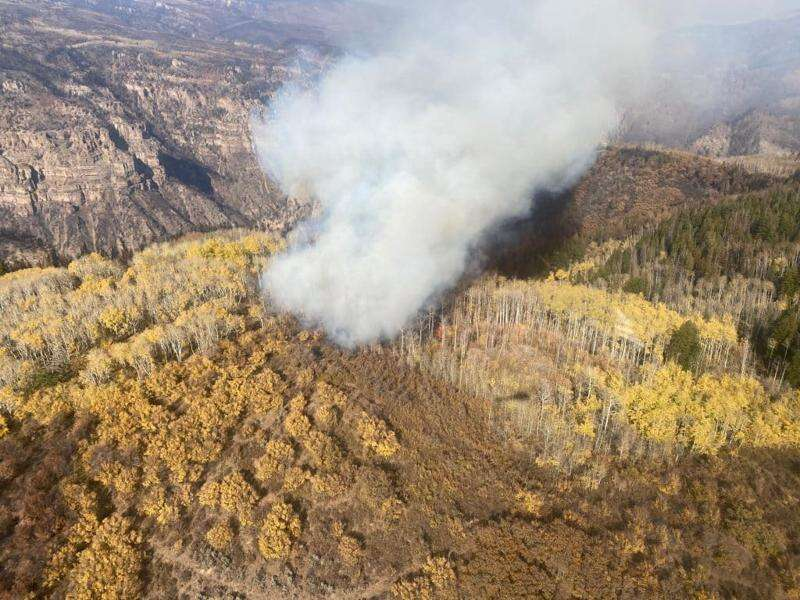 An aerial photo from the U.S. Forest Service, taken Tuesday, shows what remains of the Grizzly Creek Fire in the Devil's Hole area of the White River National Forest. Devil's Hole is on roughly the same longitude as the Shoshone Dam, but much further south. Glenwood Canyon is to the left in the picture, and the helicopter from which the photo was taken was southwest of the smoke at the time. |Special to the Vail Daily