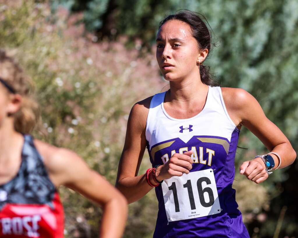 Basalt's Ava Lane competes in the Longhorn Invitational cross country meet on Saturday, Aug. 28, 2021, at Crown Mountain Park in El Jebel. Photo by Austin Colbert/The Aspen Times.