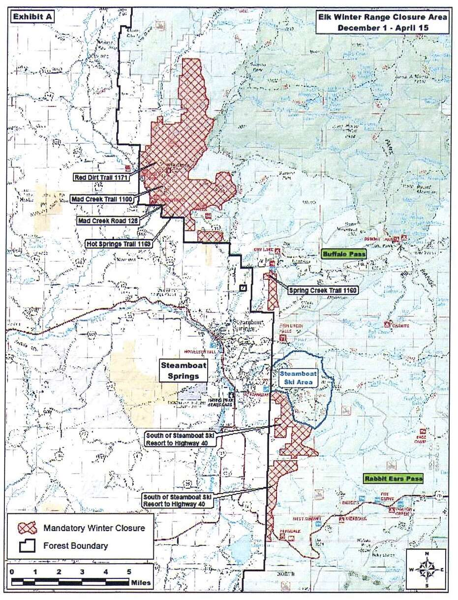 Mandatory and voluntary closures in the Medicine Row-Routt National Forest around Steamboat Springs lift on April 16th.