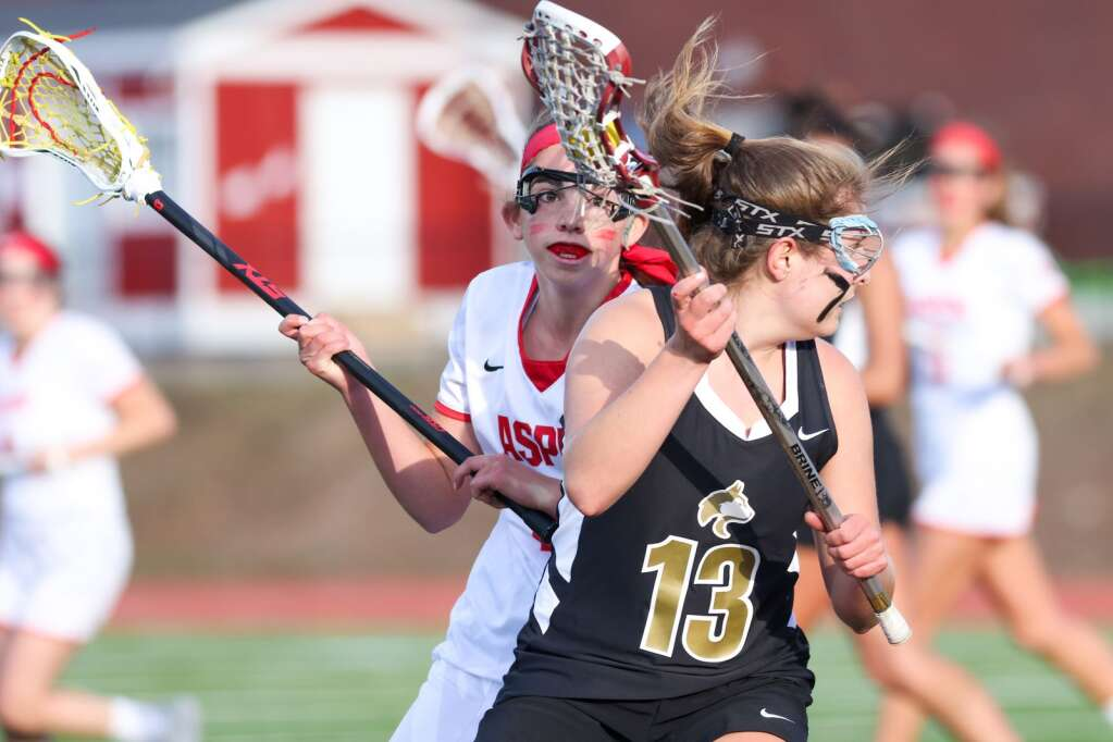 The Aspen High School girls lacrosse team plays Battle Mountain on Wednesday, May 12, 2021, on the AHS turf. The Skiers won, 8-6. Photo by Austin Colbert/The Aspen Times.