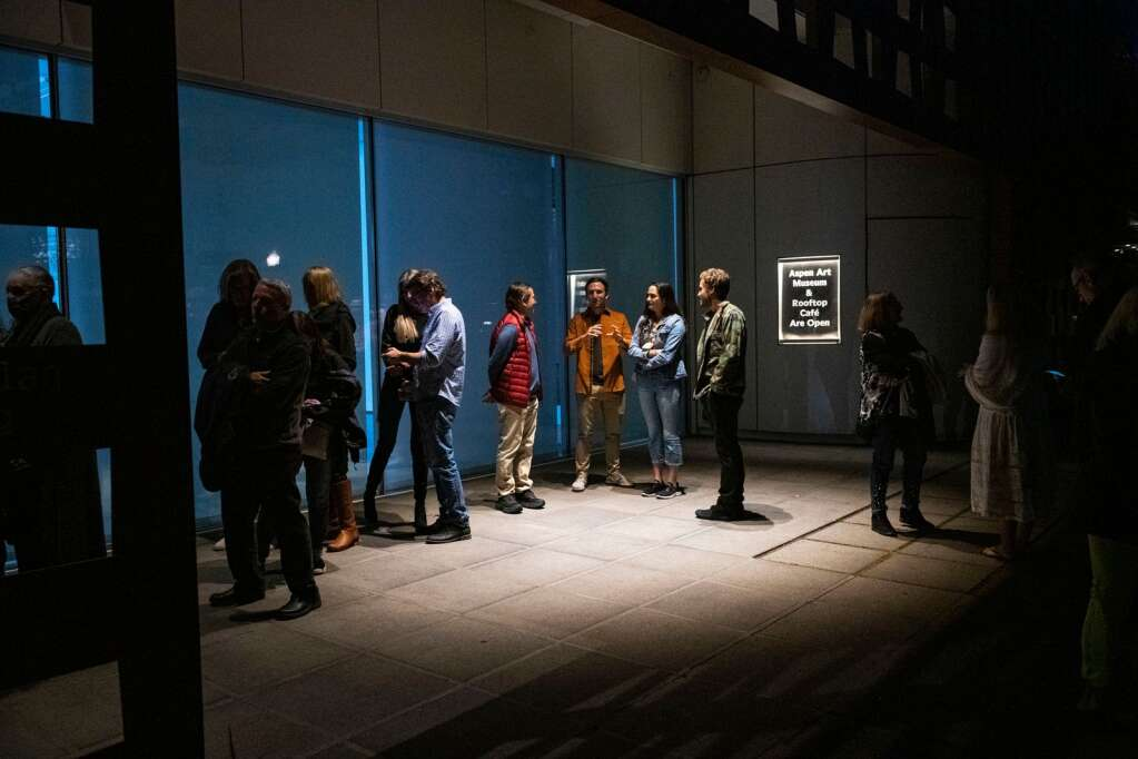 A line forms outside of the Aspen Art Museum for the Monty Alexander Trio during the JAS June Experience in downtown Aspen on Friday, June 25, 2021. (Kelsey Brunner/The Aspen Times)