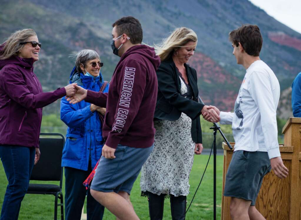 At the ceremony were Aspen Elks Scholarship Committee members Mary Houchin and Debbie Overeynder, along with Basalt High School graduating students Austin Pagan and Carson Jenkins and Aspen Elks Exalted Ruler Diane Spicer. (Ross Daniels Photography)
